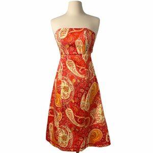 Moda International Orange Paisley Bandeau Dress 2